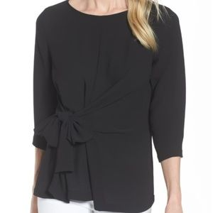 Gibson bow tie knot front crepe black blouse top